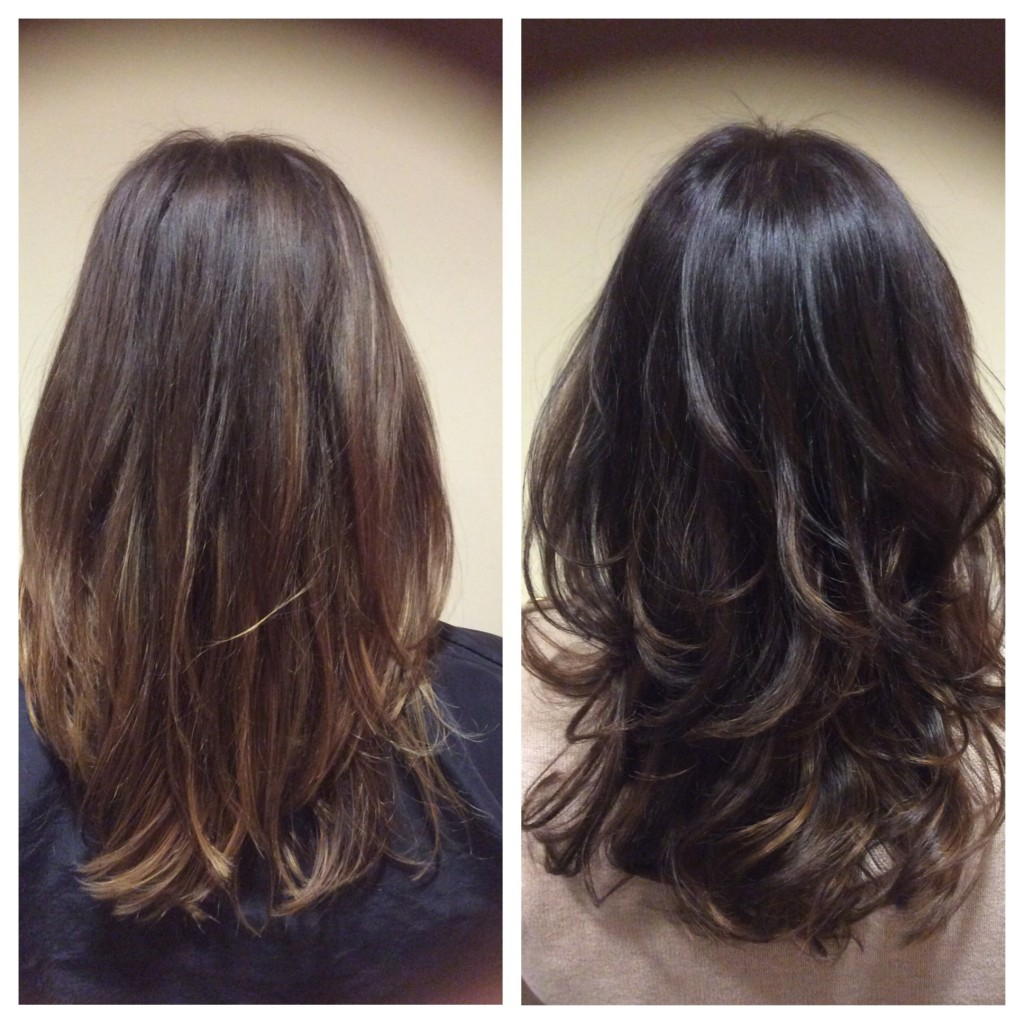 Rich Dark Chocolate Brown with Peeks of Caramel Balayage